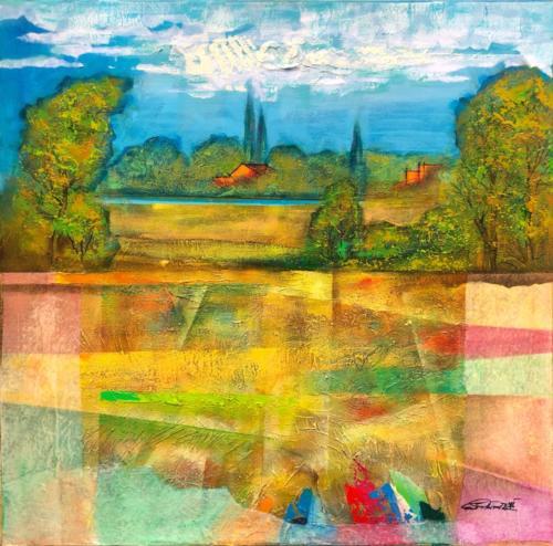 Landschaft , 80 X 80 cm