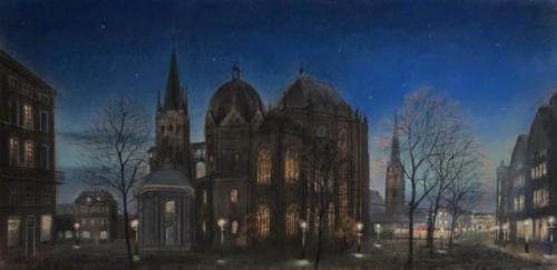 Aachen Dom bei Nacht, 80 X 37 cm
